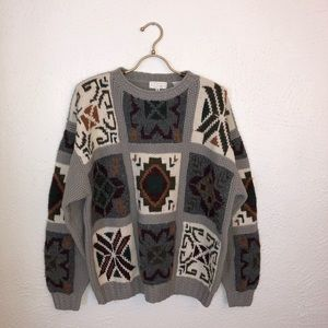 Vintage Norm Thompson Wool Knit Grandpa Sweater